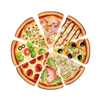 Круглая пицца нарезанная кусочками с различными вариантами начинок