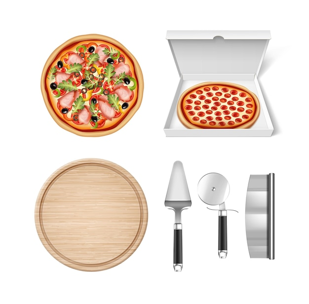 Round pizza and pepperoni pizza packed in a box with realistic tools for pizza