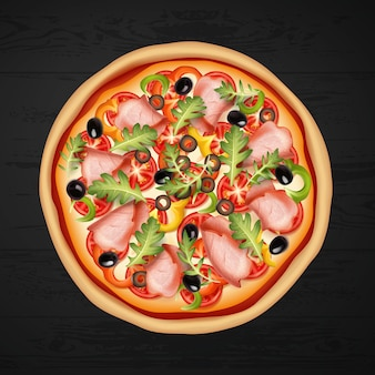 Round pizza with meat, olives, salad and cheese on black background