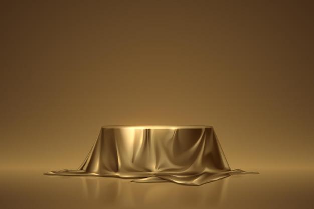 황금 천으로 덮인 둥근 연단