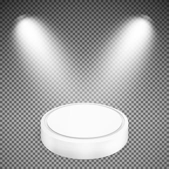 Круглый подиум, освещенный прожекторами.