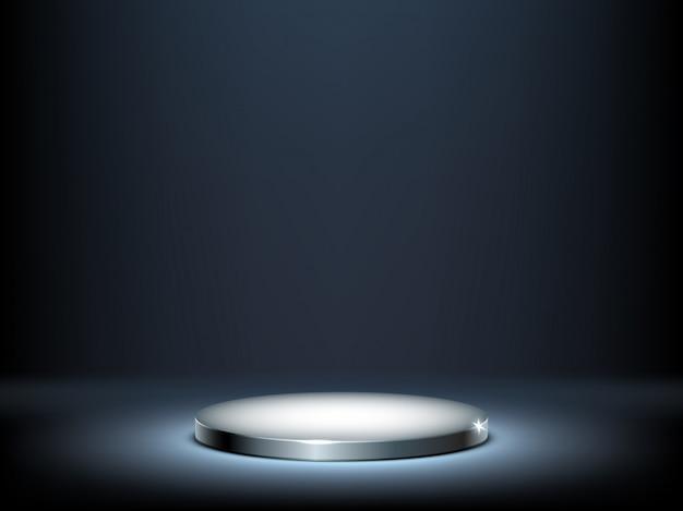 Round podium, illuminated metal pedestal