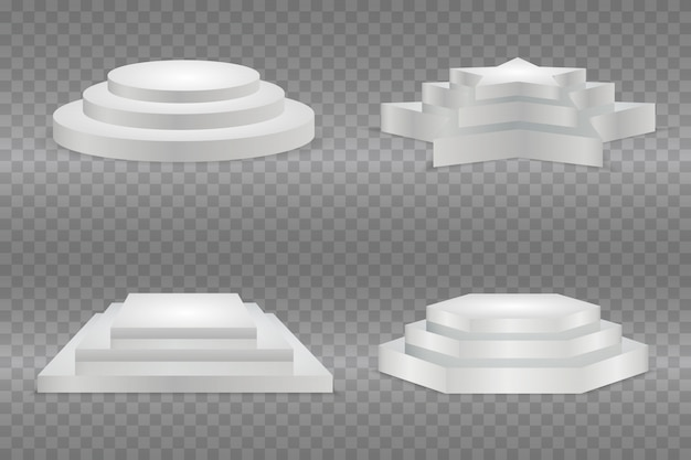 Round podium, isolated on a transparent background. 3d pedestal. illustration. ready for your design.