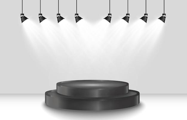 투명한 배경에 둥근 연단 또는 플랫폼.