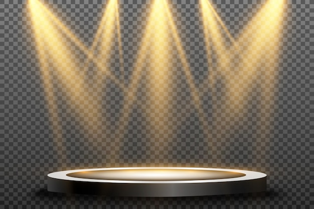 스포트 라이트로 조명 라운드 연단, 받침대 또는 플랫폼. 밝은 등. 위에서 빛.