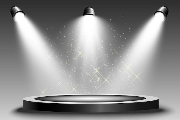 Круглый подиум, постамент или платформа, освещенная прожекторами. яркий свет. свет сверху.