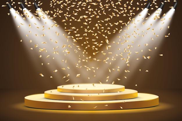 スポットライトで照らされた丸い表彰台、台座、またはプラットフォーム。金色の紙吹雪が落ちる