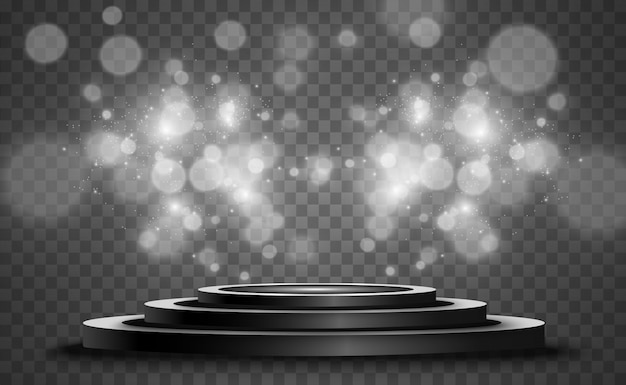 背景のスポットライトで照らされた円形の表彰台、台座、またはプラットフォーム。明るい光。上からの光。広告場所