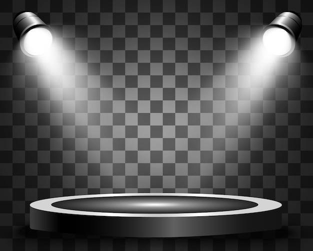 Круглый подиум, постамент или площадка, освещенная прожекторами на заднем плане. иллюстрации. яркий свет. свет сверху. рекламное место