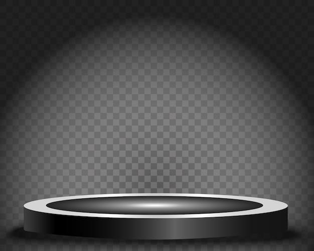 둥근 연단, 받침대 또는 플랫폼, 배경의 스포트라이트로 조명. 삽화. 밝은 등. 위에서 빛. 광고 장소
