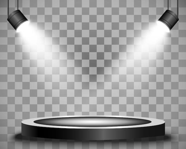 背景のスポットライトで照らされた円形の表彰台、台座、またはプラットフォーム。図。明るい光。上からの光。広告場所