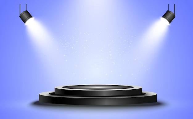 원형 연단, 받침대 또는 플랫폼, 배경의 스포트라이트로 조명. 삽화. 밝은 등. 위에서 빛. 광고 장소