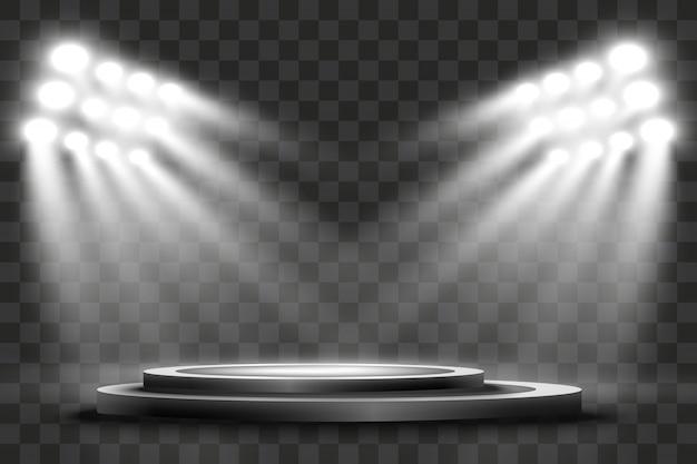 라운드 연단, 받침대 또는 플랫폼, 배경에서 스포트라이트로 조명. 삽화. 밝은 등. 위에서 빛. 광고 장소