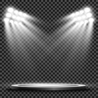 背景のスポットライトで照らされた円形の表彰台、台座、またはプラットフォーム。図。明るい光。上からの光。広告場所 Premiumベクター