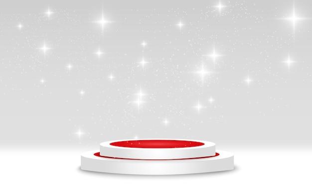背景のスポットライトで照らされた丸い表彰台の台座またはプラットフォーム