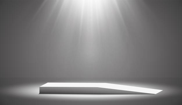 白い背景のスポットライトで照らされた丸い表彰台、台座、またはプラットフォーム。設計のためのプラットフォーム。リアルな3d空の表彰台。風光明媚なライトでステージング。