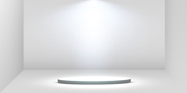 둥근 연단, 받침대 또는 플랫폼은 흰색 바탕에 스포트라이트로 조명됩니다. 디자인을위한 플랫폼. 현실적인 3d 빈 연단. 아름다운 조명이있는 무대.