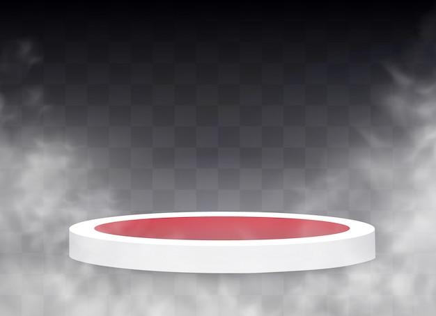 円形の表彰台、台座、またはプラットフォーム。煙と霧の効果。