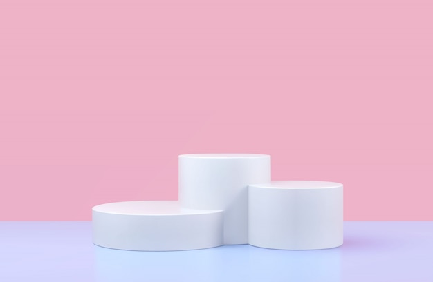 Round podium, pedestal or platform, background for cosmetic product presentation.
