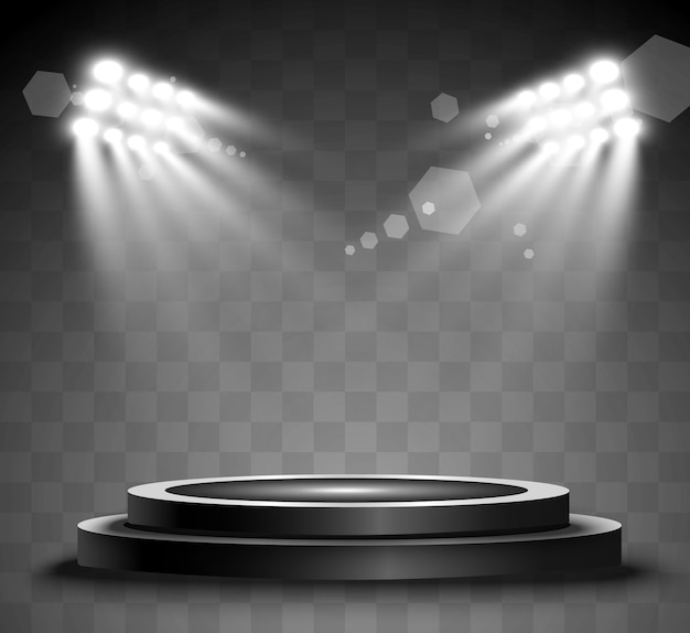 Round podium, pedestal or platform, illuminated by spotlights in the background. bright light. light from above. advertising place