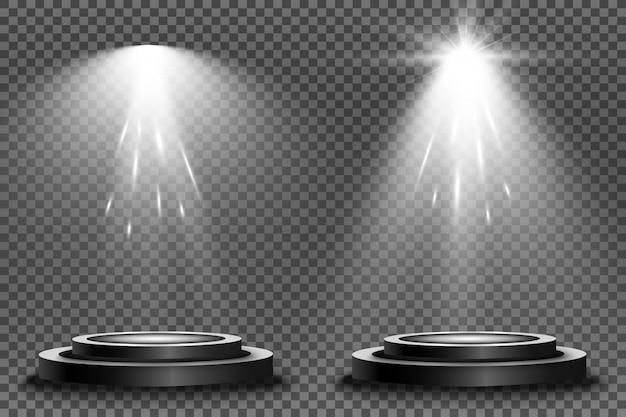Round podium, pedestal or platform, illuminated by spotlights.  bright light. light from above.