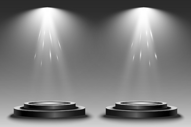 Round podium, pedestal or platform, illuminated by spotlights.  bright light. light from above.