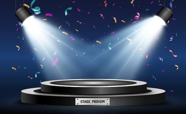 Round podium pedestal or platform illuminated by spotlights