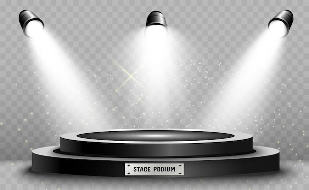 Round podium pedestal or platform illuminated by spotlights