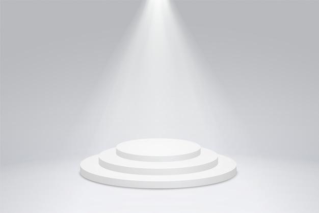 밝은 조명, 탐조등이있는 둥근 연단 받침대.
