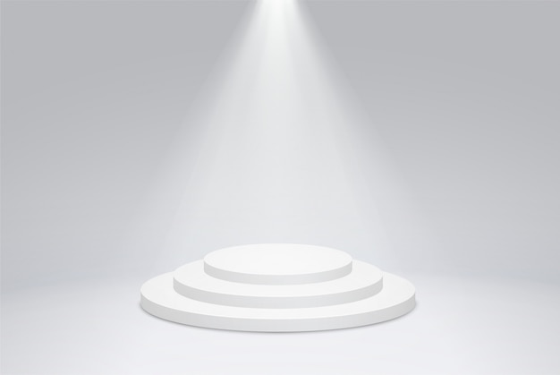 Round podium pedestal with bright lighting, a searchlight.