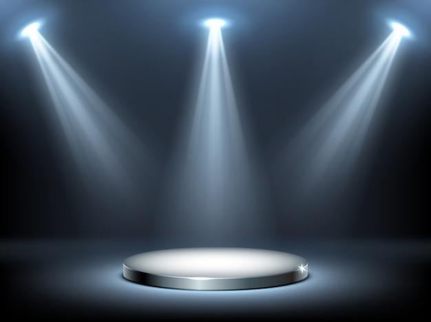 Круглый подиум в лучах прожекторов, реалистичный