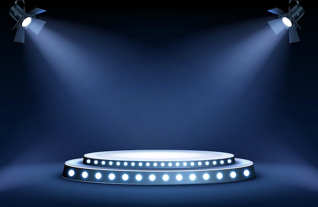Round podium stage in spotlights rays