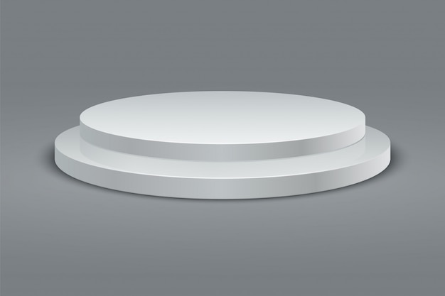 Round podium. winner round pedestal set. 3d two-stage platform on gray background. vector
