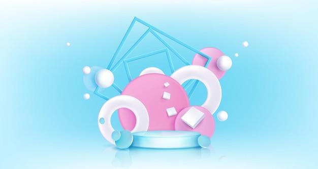 抽象的な幾何学的な背景を持つラウンド表彰台。 3dの円、球、正方形の形をした円形プラットフォームのリアルなモックアップをベクトルします。ディスプレイ製品の空の台座とポスターテンプレート