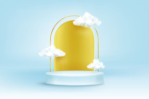 Round podium with golden arch and white clouds