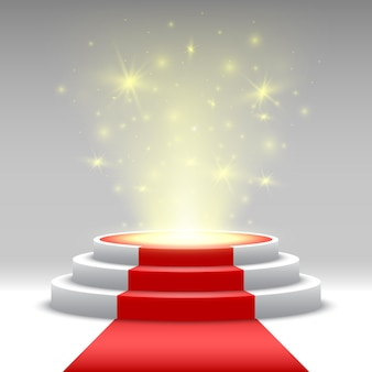 Round podium with red carpet and lights. pedestal. stage.