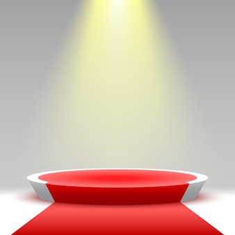 Round podium with red carpet and spotlight pedestal product display platform 3d