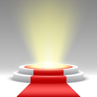 Round podium with red carpet and spotlight. pedestal.