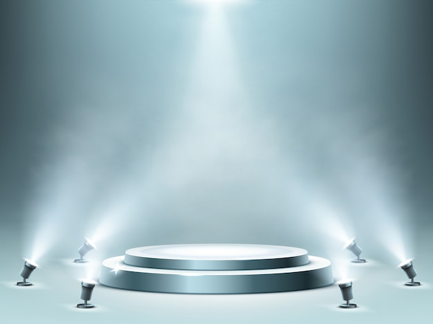 Round podium with smoke effect and spotlights