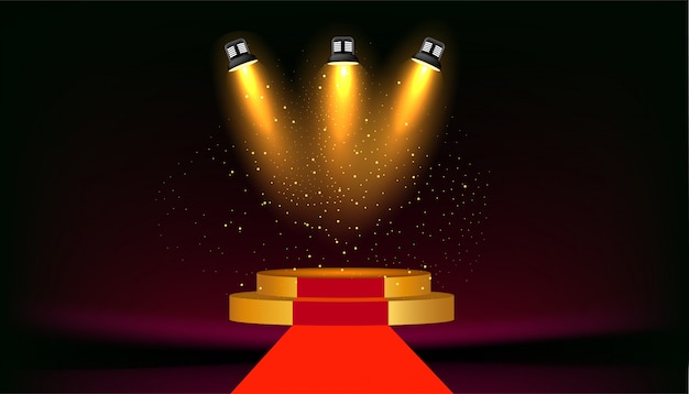 Round podium  with  spotlight  background.