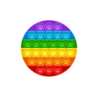 Круглая pop it модная антистрессовая игра для детей ручная игрушка с пуш-пузырями в цветах радуги