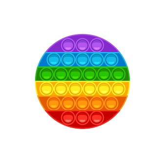 Round pop it trendy antistress game for kids hand toy with push bubbles in rainbow colors