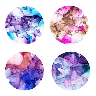 Round posters set, wet watercolor background, violet shades, hand drawn vector texture