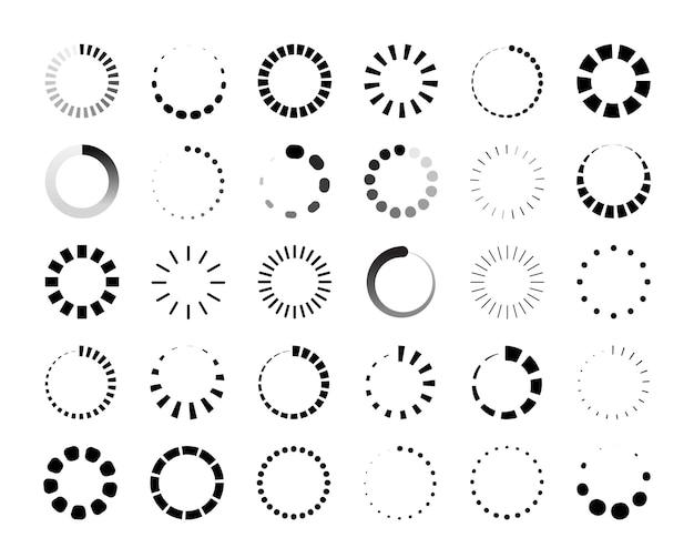 라운드 진행률 표시줄. 웹 및 응용 프로그램 ui의 원형 로더 및 카운트다운 아이콘, 원형 인포그래픽 요소. 벡터 대기 데이터 진행 다운로드 표시기 세트
