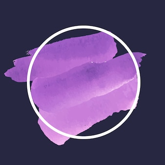 Round purple watercolor banner vector