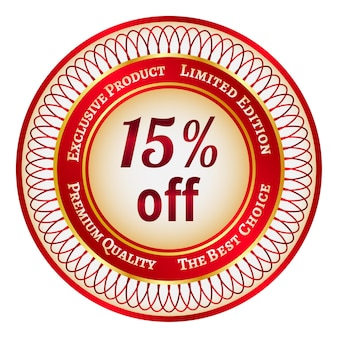15%割引の丸い赤と金のステッカーまたはラベル