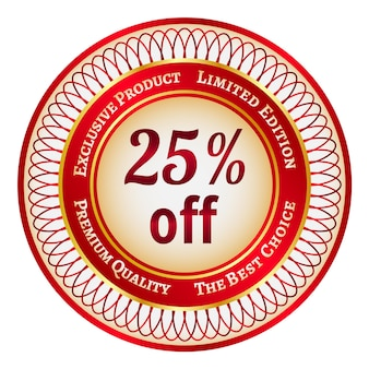 25% 할인에 둥근 빨간색과 금색 스티커 또는 레이블