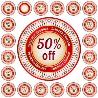 퍼센트 할인에 둥근 빨간색과 금색 스티커 또는 레이블