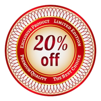 Round red and gold sticker or label on 20 percent discount