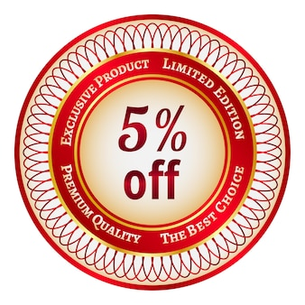 Round red and gold sticker or label on 5 percent discount